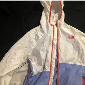 North face windbreaker purple and white